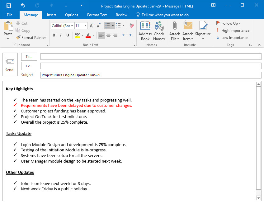 Project Management Email Templates Project Status Update Email Sample Templates and
