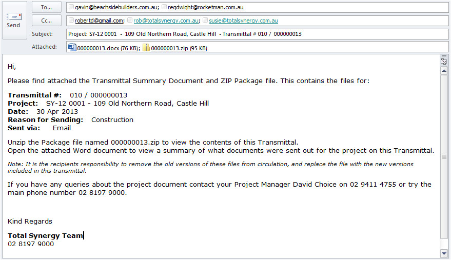 transmittal email template