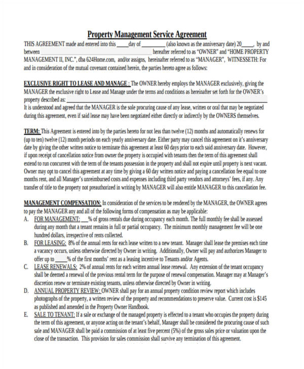 Property Management Contract Template Uk 63 Management Agreement Examples and Samples Word Pdf