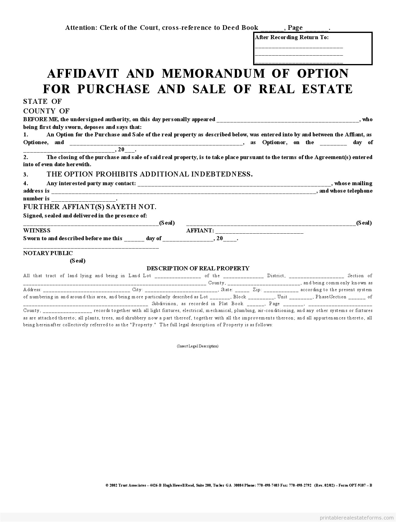 affadavit memorandum of option 2 party agreement