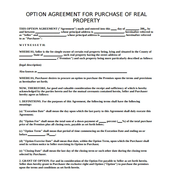 Property Option Contract Template Sample Real Estate Purchase Agreement Template 7 Free