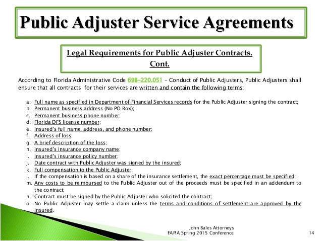 Public Adjuster Contract Template Don 39 T Drop the Ball On Contract Requirements and