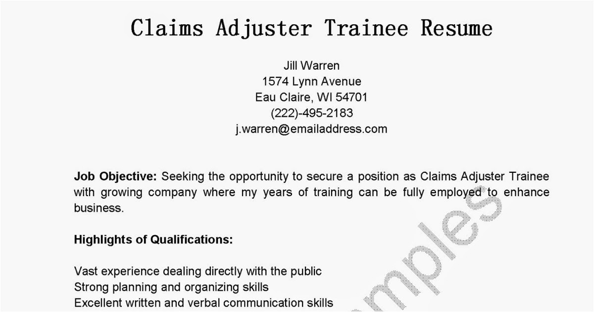 claims adjuster trainee resume sample