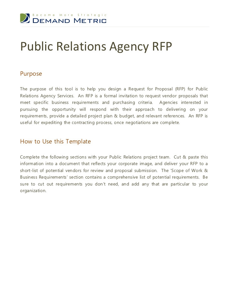 public relations agency rfp