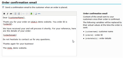 automated order confirmation emails
