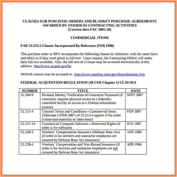 4 blanket purchase order agreement template