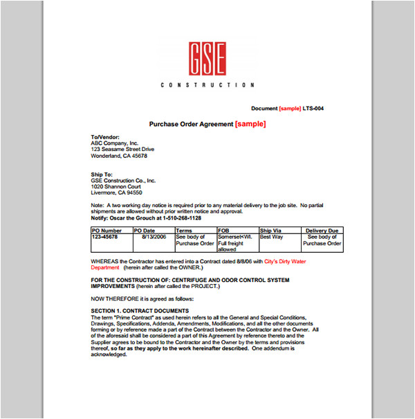 purchase order contract template