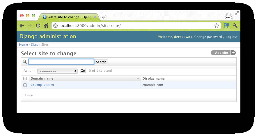 how do i change the django registration e mail template site name