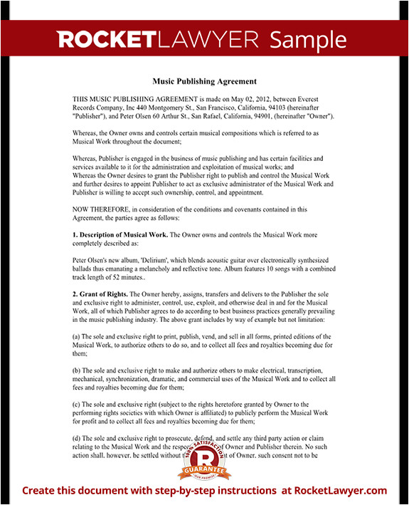 music publishing agreement rl