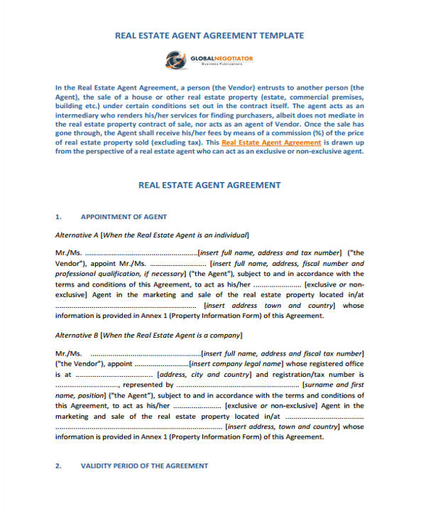 agent contract template