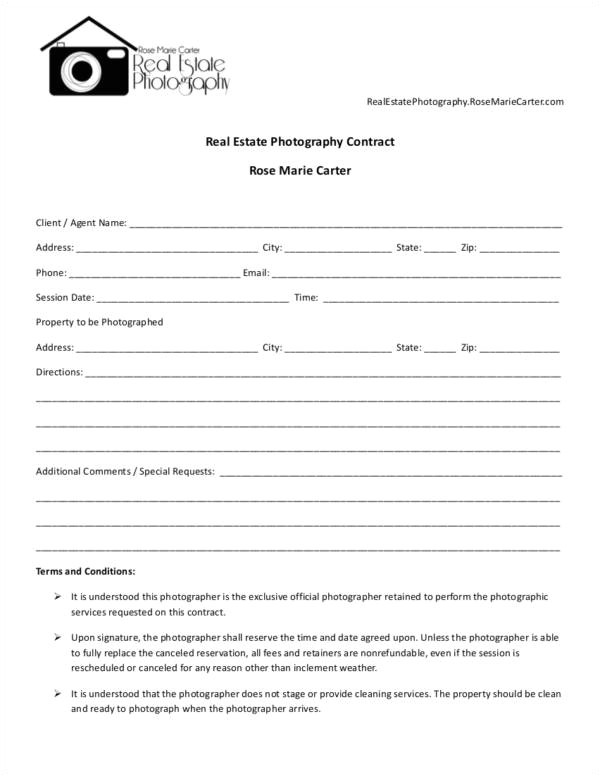Real Estate Photography Contract Template 23 Photography Contract Templates and Samples In Pdf