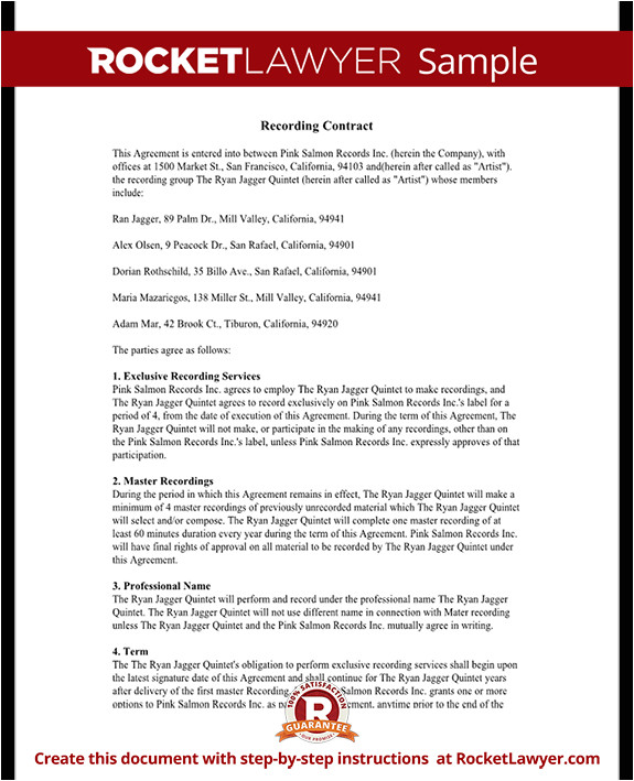 Record Deal Contract Template Recording Agreement for Artists Independent Labels