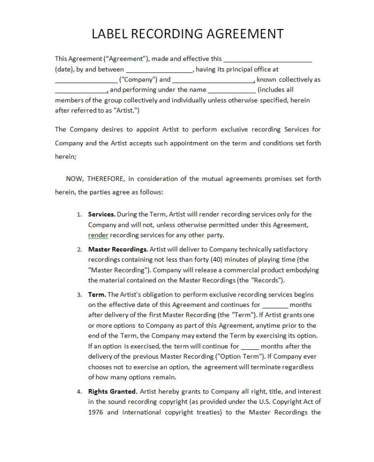 Record Label Artist Contract Template Record Label Agreements