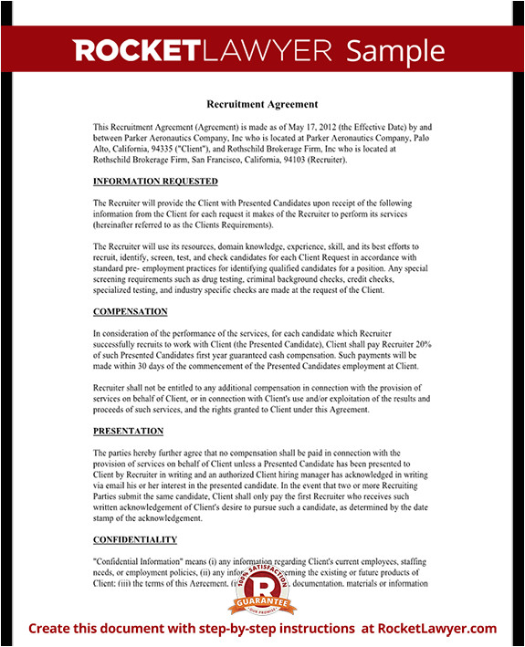 Recruiter Contract Template Recruiter Agreement Recruitment Contract Agreement