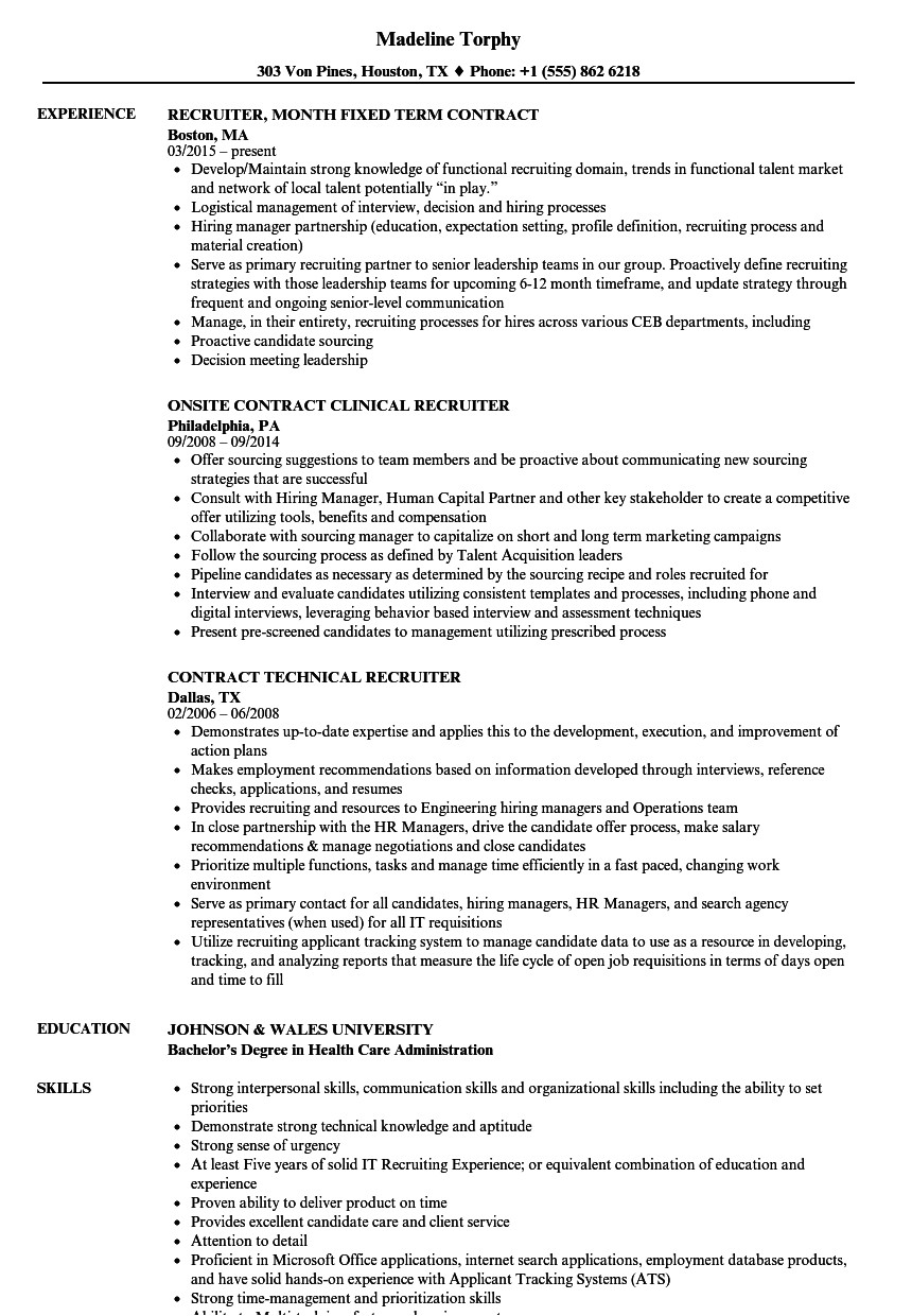 recruiter contract resume sample
