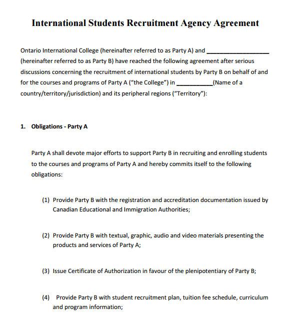 sample agency agreement