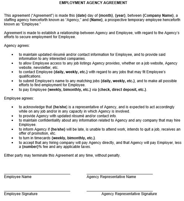employment agency agreement