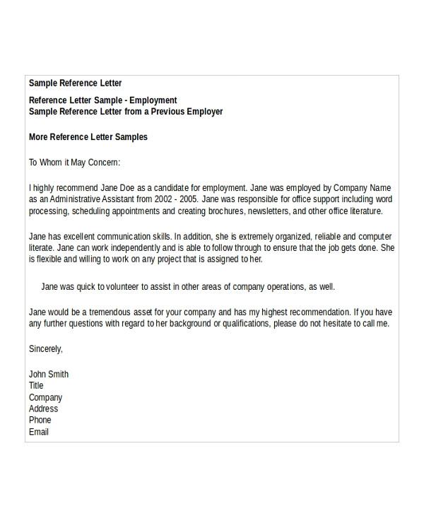 sample credit reference letter