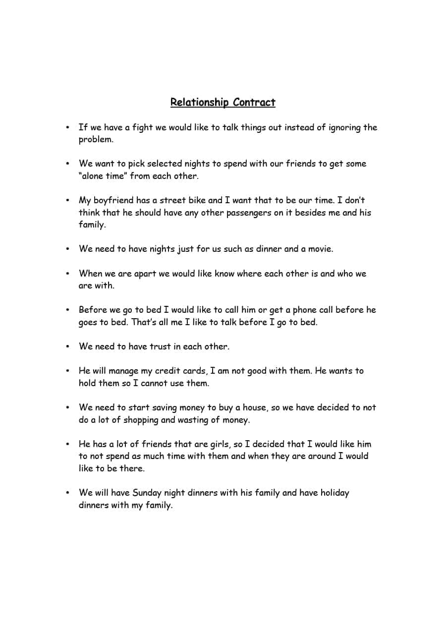 Relationship Contract Template Funny 20 Relationship Contract Templates Relationship Agreements