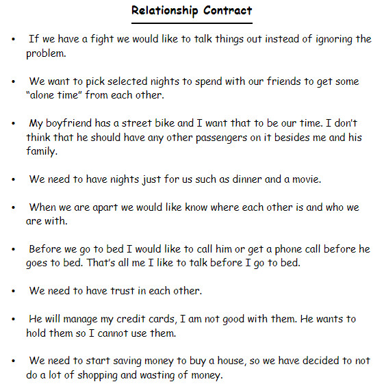 relationship contract templates