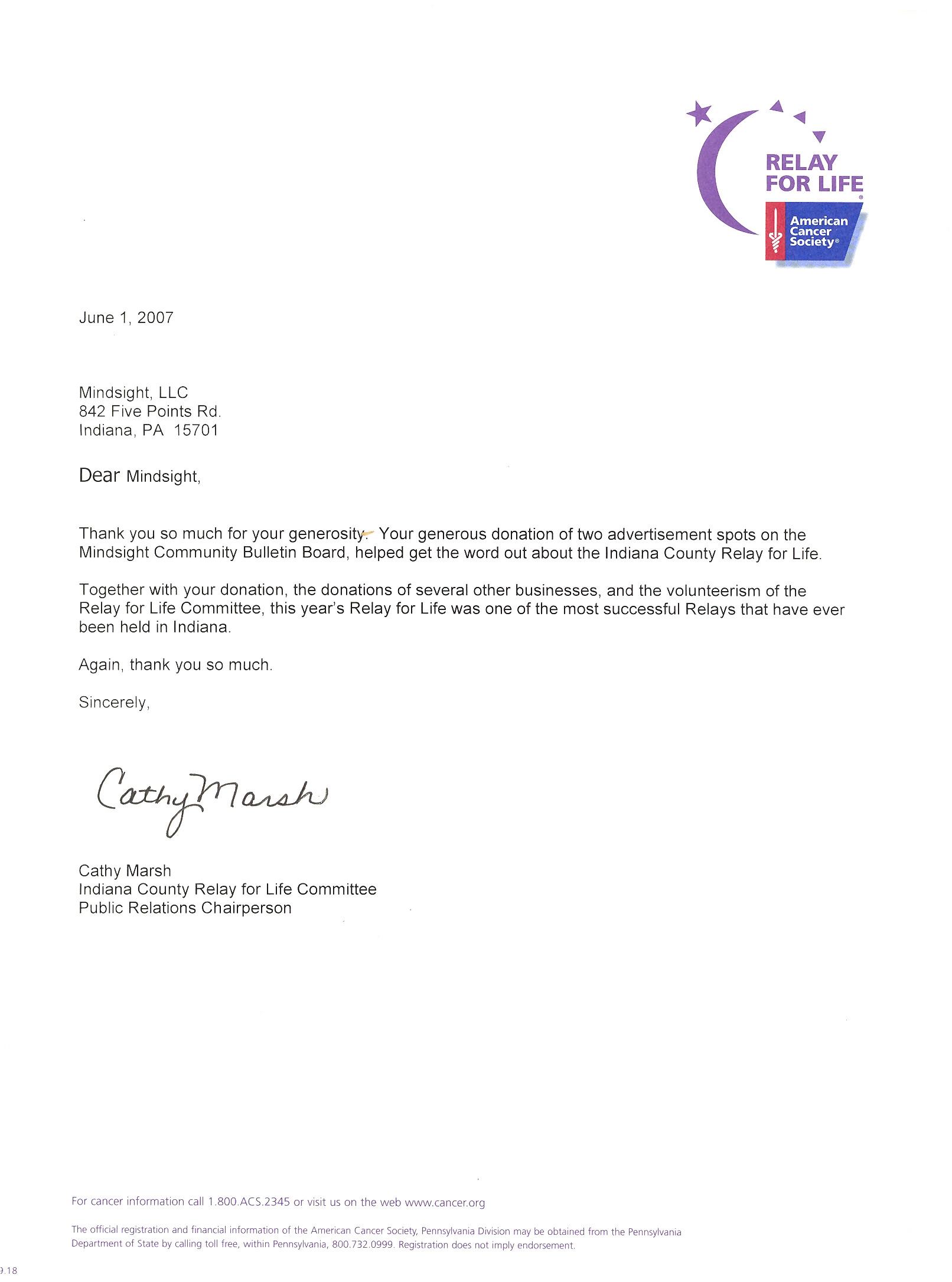 Relay for Life Donation Email Templates Mindsight Llc Community B B Thank You Notes