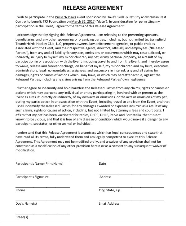 release agreement templates
