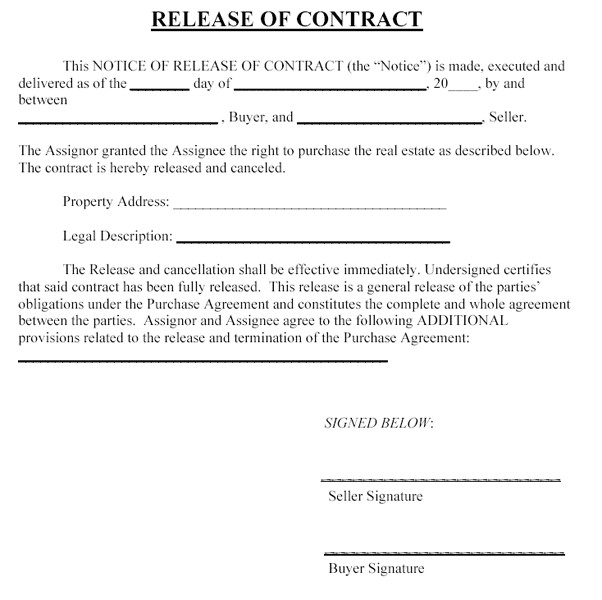 release from contract template