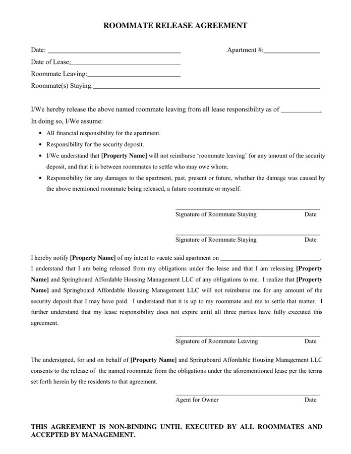 Release From Contract Template Roommate Release Agreement In Word and Pdf formats