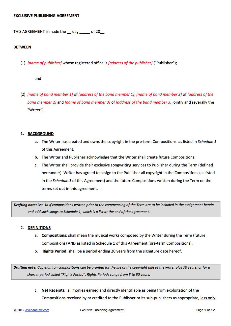 music publishing contract