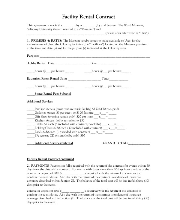 table and chair rental agreement template