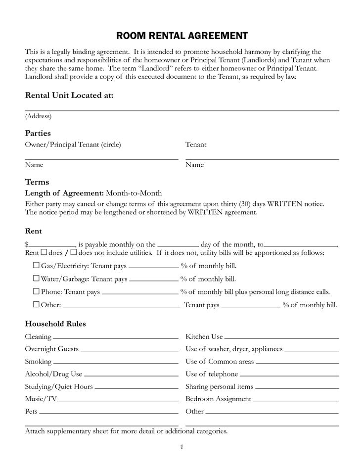 Rent A Room Contract Template 11 Best Rental Agreements Images On Pinterest Rental
