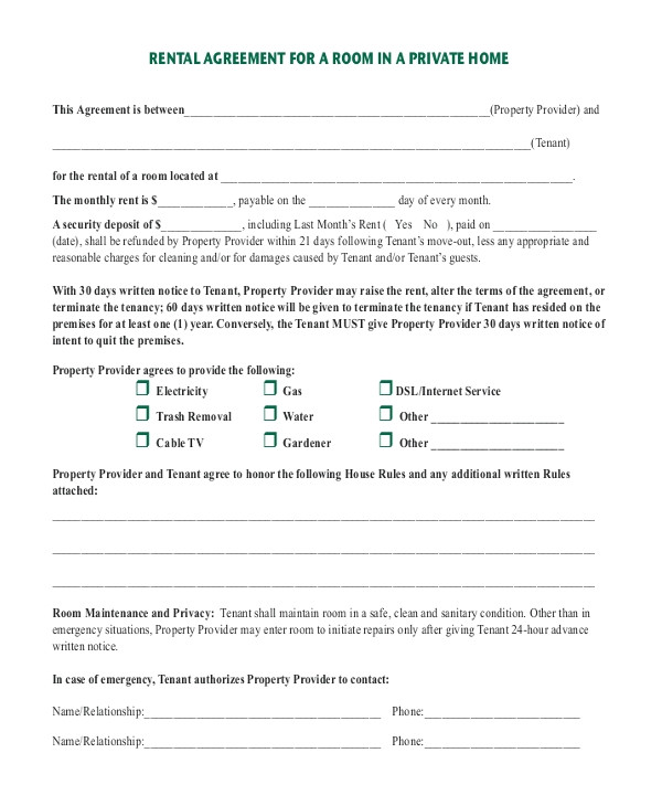 room rental agreement