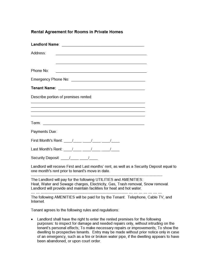 Rent A Room Contract Template Ireland 39 Simple Room Rental Agreement Templates Template Archive