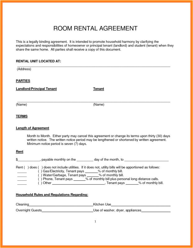 Rent A Room Contract Template Ireland Room Rental Agreement Pdf Template Business