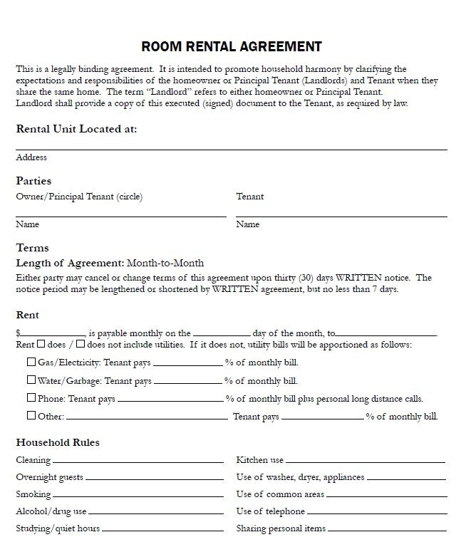 sample of lease agreement for renting a room