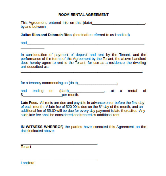 Rent A Room Contract Template Room Rental Agreement 18 Download Free Documents In Pdf