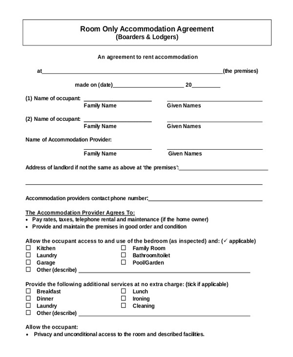 Rent A Room Contract Template Room Rental Agreement Template 12 Free Word Pdf Free