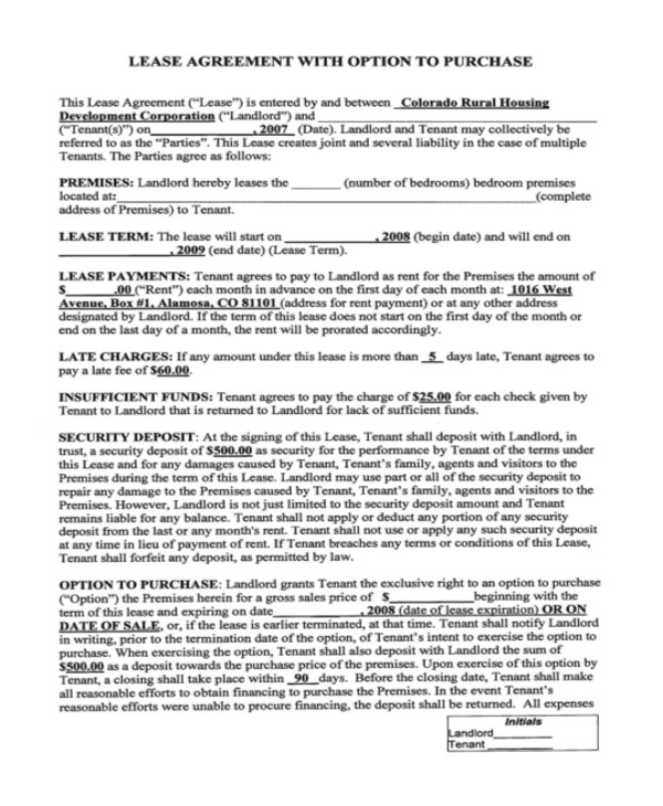 rent to own home contract