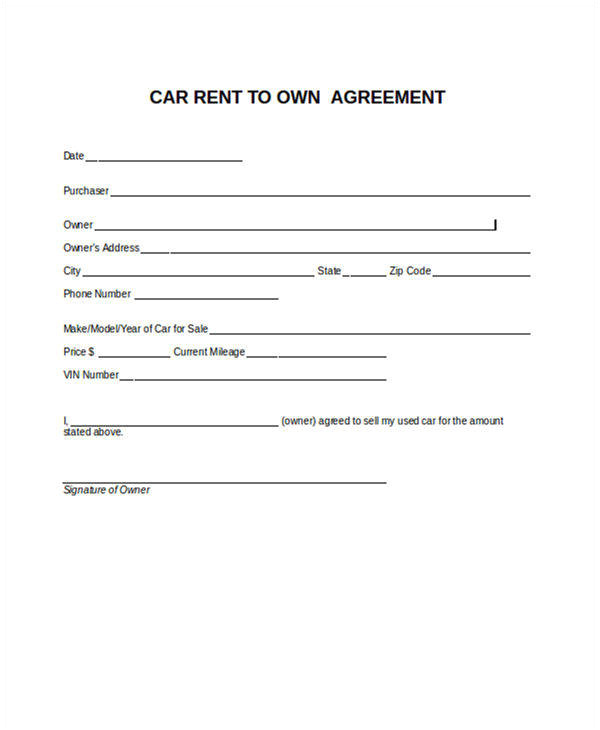 rent to own contract samples