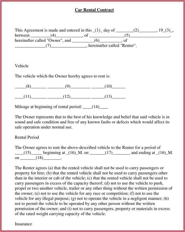 car rental lease agreement