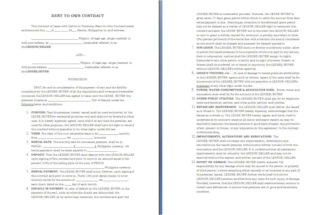 Rent to Own Car Contract Template Free Contract Templates Word Pdf Agreements