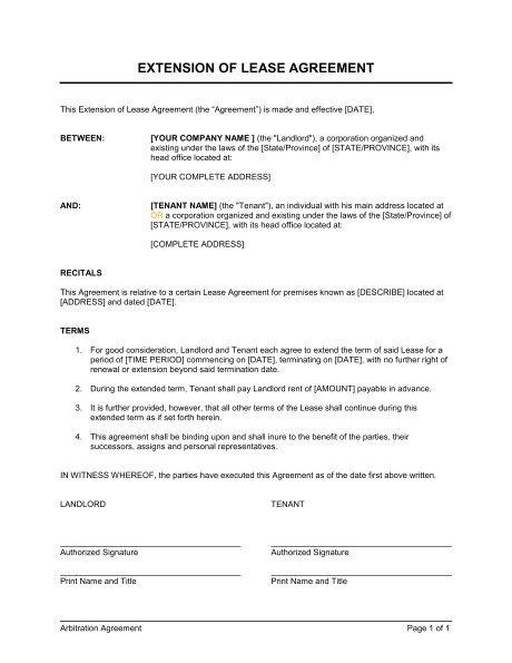 Rental Contract Extension Template Extension Of A Lease Template Word Pdf by Business