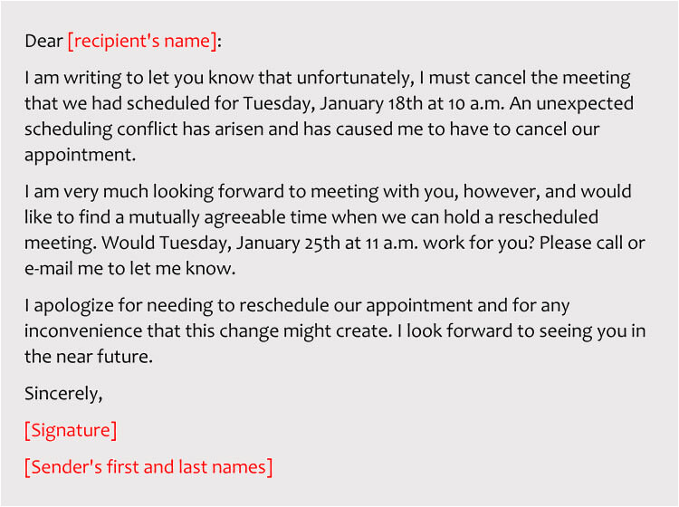 sample emails reschedule business meeting