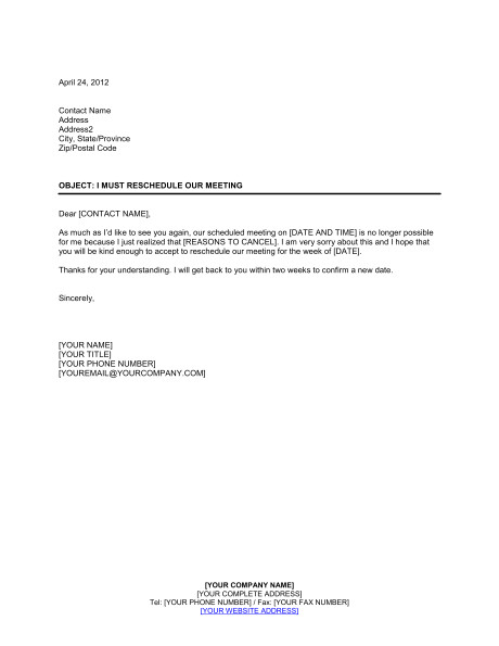 Reschedule Meeting Email Template I Must Reschedule Our Meeting Template Sample form