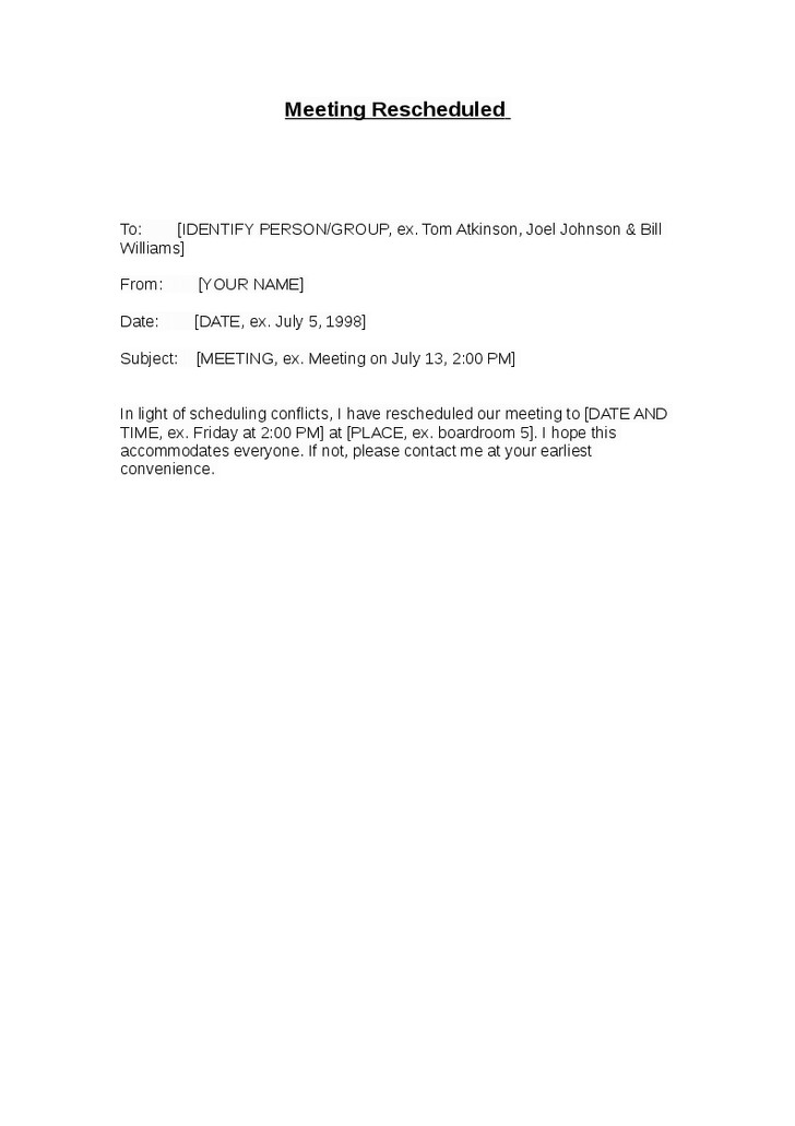 sample letter to reschedule a meeting