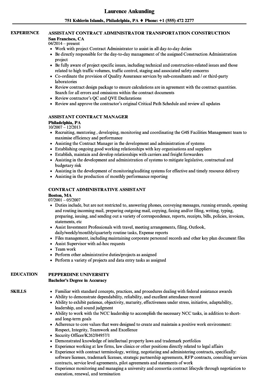 contract assistant resume sample