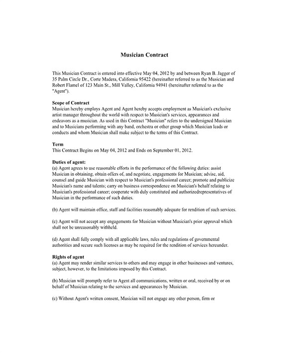 Reservation Contract Template 8 Booking Agent Contract Templates Free Word Pdf