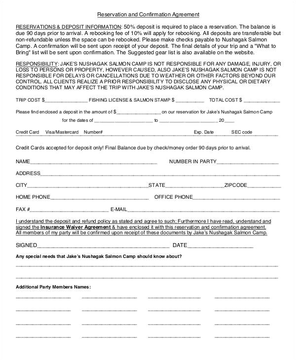 confirmation agreement templates