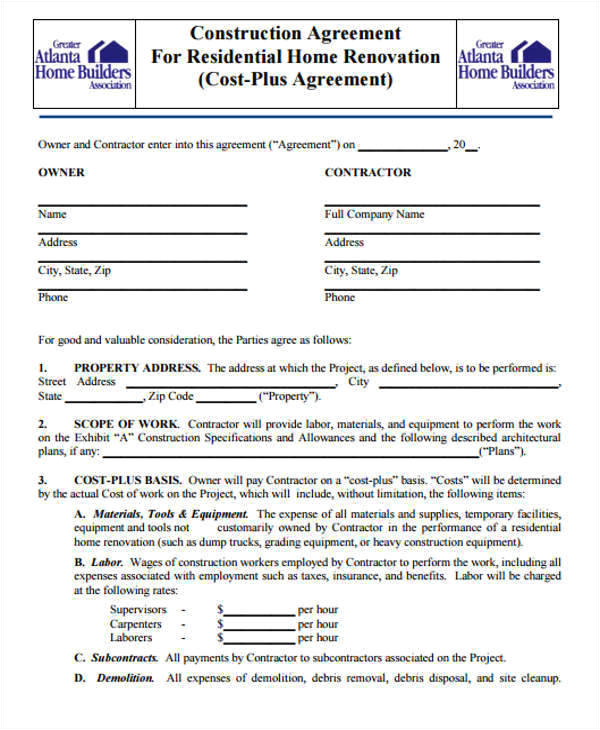 sample construction contract template