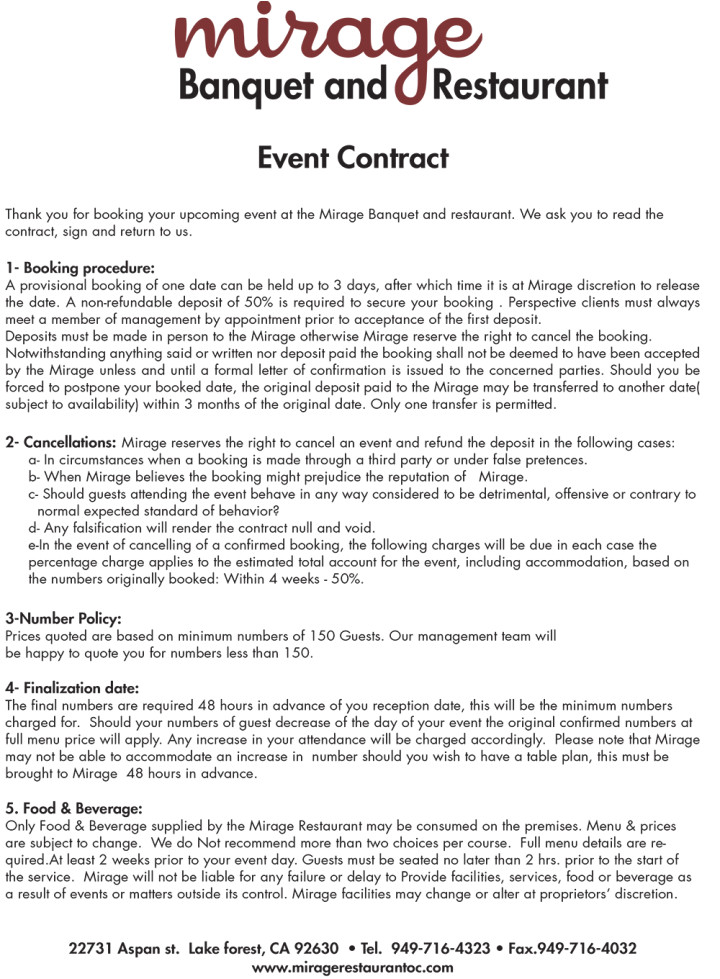 Restaurant Party Contract Template 6 Restaurant event Contract Templates for Restaurant